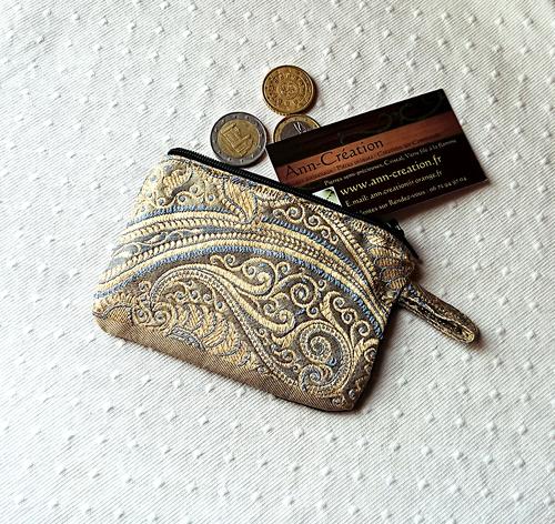 Petit Porte-monnaie tissu de soie tissée floral Or / Gris - 11,7 x 8,3 cm, fermeture à glissière