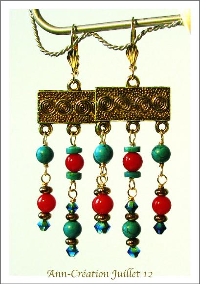 Boucles d'Oreilles Dormeuses Turquoise, Corail rouge / Laiton doré