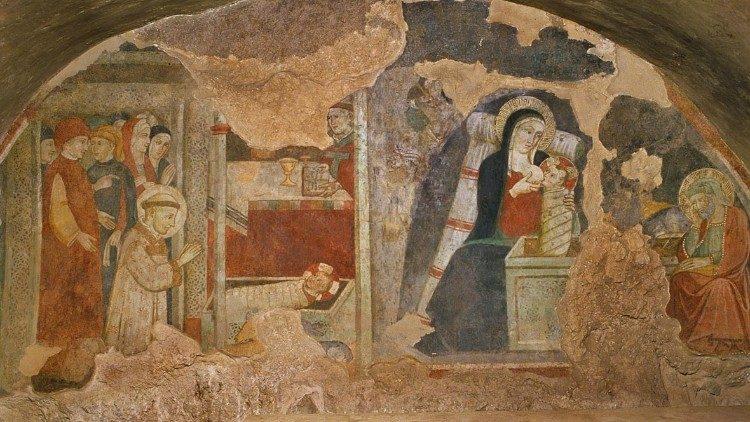 Chapelle (construite en 1228) de la crèche de Greccio, fresque d'un auteur giottesque du 14e siècle avec la Vierge allaitant Jésus et Joseph méditant