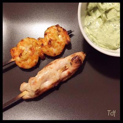 Crème d'avocat indienne pour accompagnement de crevettes ou viande blanche