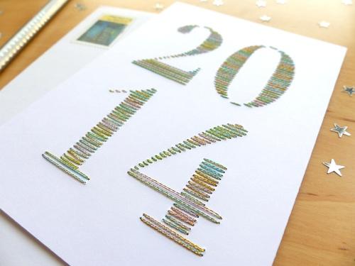 Carte Nouvel an brodée main 2014 fils brillants