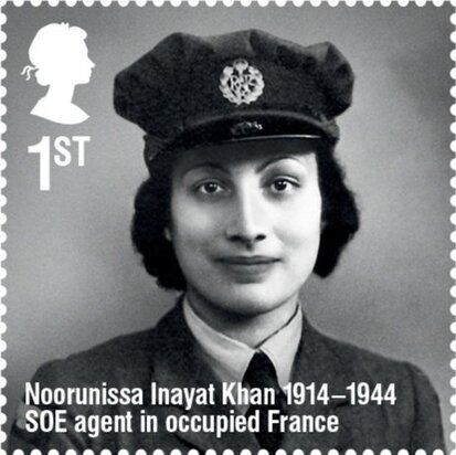 "This March, the U.K.'s Royal Mail released a stamp honoring Noor Inayat Khan, as part of their ""Remarkable Lives"" set. The Royal Mail noted that Inayat Khan didn't carry a weapon, to honor her pacifist beliefs, and that she was posthumously awarded the French Croix de Guerre and the British George Cross."