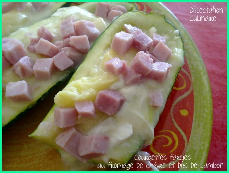 Courgettes farcies au fromage de chèvre et dés de jambon (recette express)