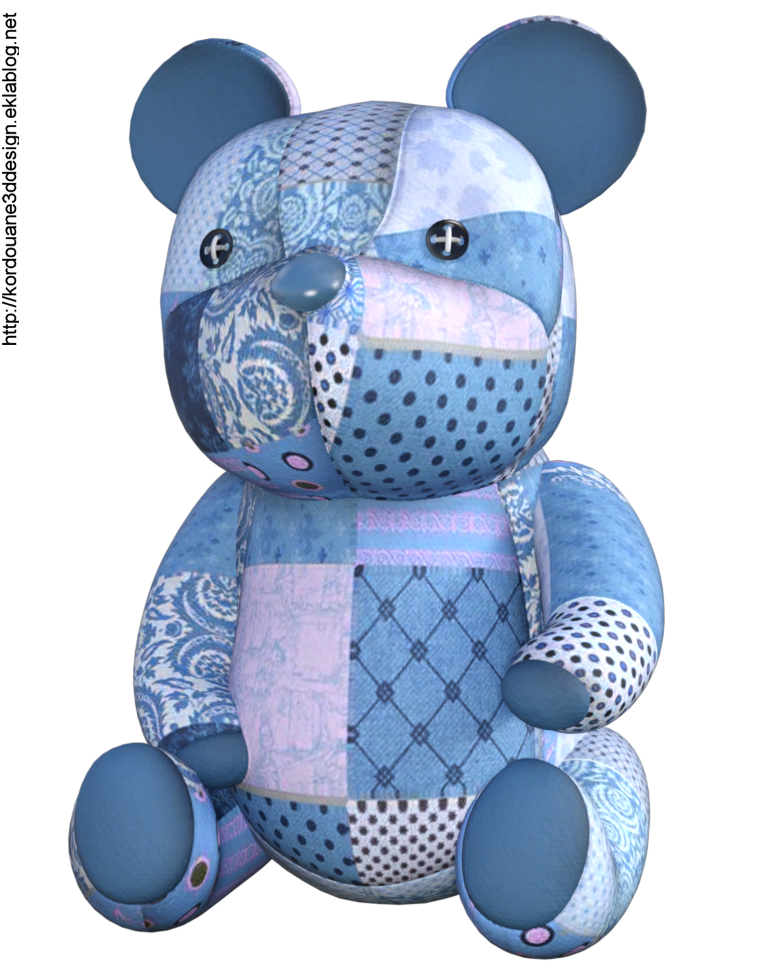Tube jouet ourson en tissu (render-image)