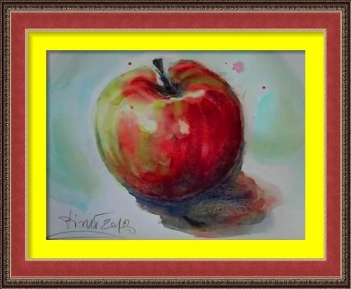 Dessin et peinture - vidéo 2584 : La peinture par la pratique et l'observation 1 - la pomme à l'aquarelle.