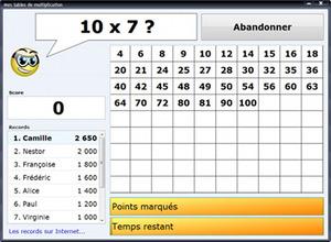 Jeux en ligne - tables de multiplication
