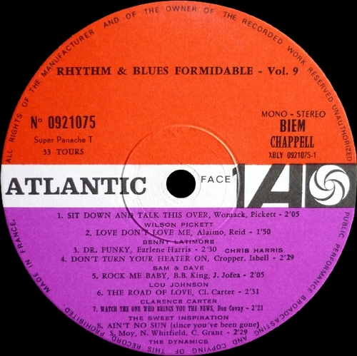 "Série "" Formidable Rhythm & Blues Vol 9 "" Atlantic Records 0920075 [ FR ] en 1968"