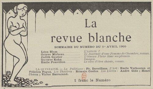 1900 Vignette tirée de La revue blanche impression photomécanique, Félix Vallotton