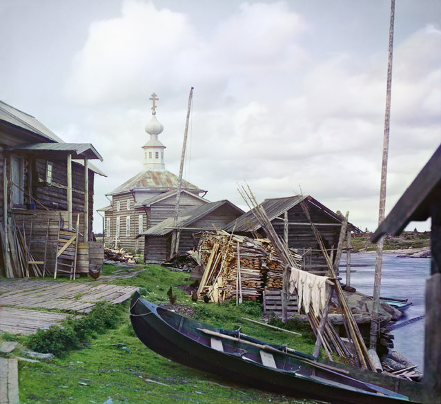 Photos by Sergey Prokudin-Gorsky. Fishing settlement (Village of Soroka. Zosima and Savvatiy church). Russia, Arkhangelsk province, Kem' uyezd (district), Soroka village, 1916