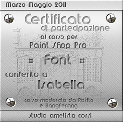"""I miei attestati di Partecipazione dei Corsi svolti sui Forum di """"Ametista Studio"""" e """"Graficamia"""""""
