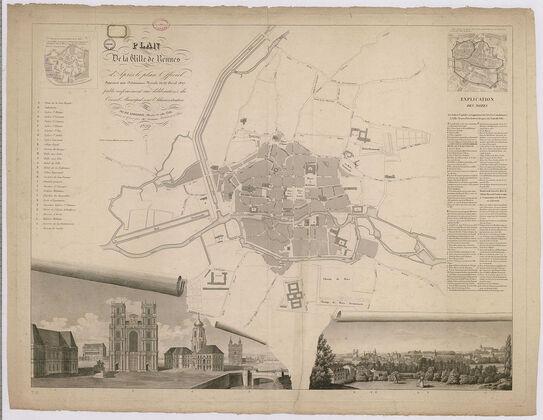 Un plan de Rennes en 1829 figurant les îlots construits du centre-ville. Les principaux monuments sont indiqués par des lettres. L'implantation de l'église Saint-Sauveur est indiquée par la lettre E, à l'est de la cathédrale. Le plan en croix, la tour et la sacristie sont figurés.