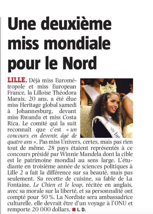 Une 2ème miss mondiale pour  le Nord.  Art.Parisien du 21/02/17