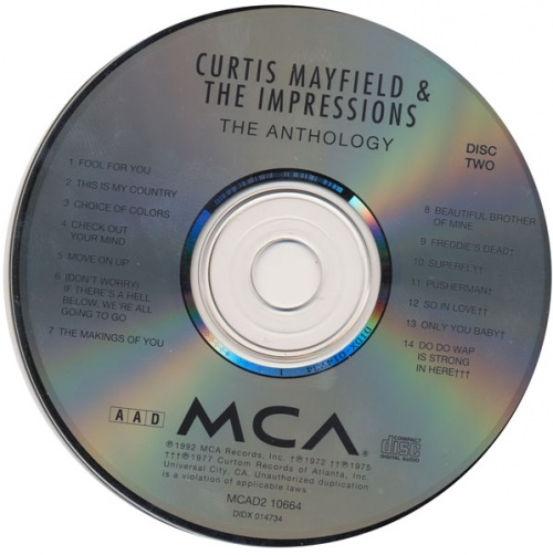 "1992 : CD "" Curtis Mayfield & The Impressions : Anthology 1961-1977 "" MCA Records MCAD 210664 [ US ]"