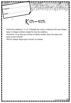 Ken-ken, numération, opération, reflexion, Cp, Ce1, Ce2, Cm1, Cm2