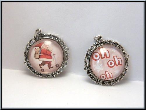 Boucles de Noël cabochon verre.