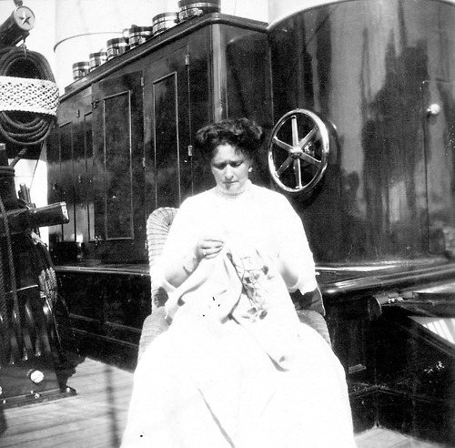 Empress Alexandra working on some embroidery aboard the Standart.