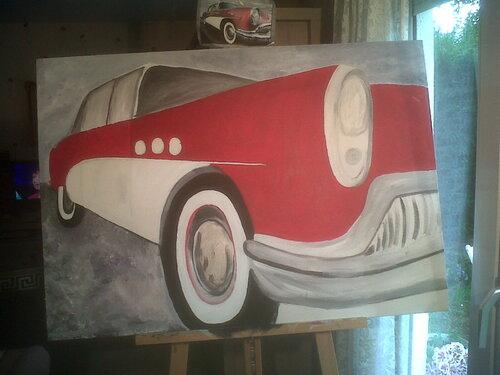 voiture sur toile peinture a huile