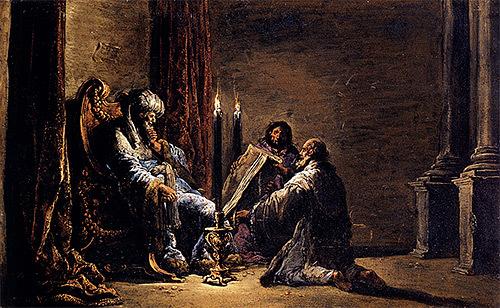 Le scribe Shafân présente le livre de la Loi au roi Josias