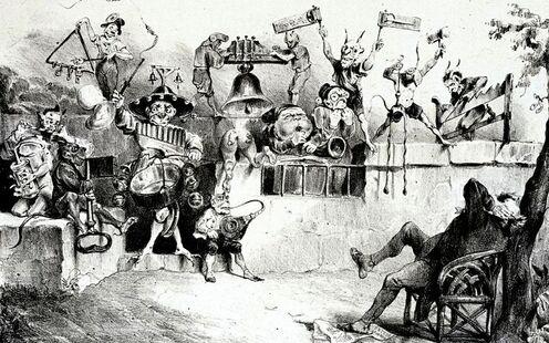 """""""Charivari qui pend à l'oreille de MM. Guizot, Dupin, Thiers et tutti quanti…"""", """"La Caricature"""", 1er septembre 1831"""