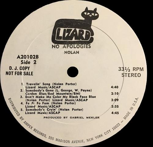 """Nolan Porter """" No Apologies """" Lizard Records A-20102 [ US ]"""