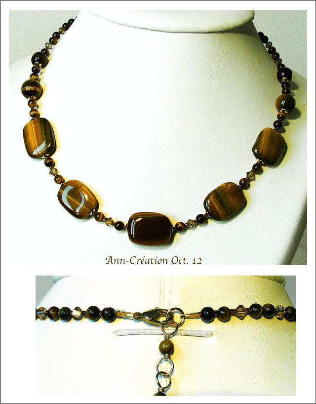 Collier Oeil du Tigre / Cristal de Swarovski / Plaqué Or Gold plated & Laiton
