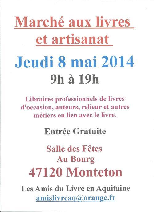 Dédicace au salon du livre de Monteton, le jeudi 8 mai 2014