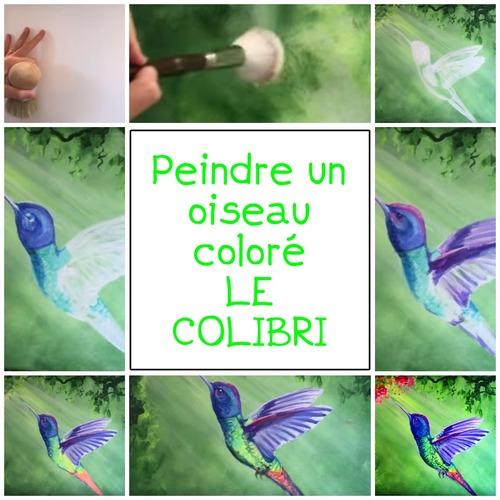 Dessin et peinture - vidéo 3324 : Comment peindre un oiseau coloré: le colibri ? - acrylique ou huile.