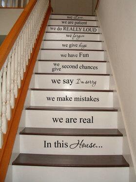 Dans cet escalier escalier de maison vinyle autocollant vinyle autocollant Home Decor porte mur lettrage mots cite