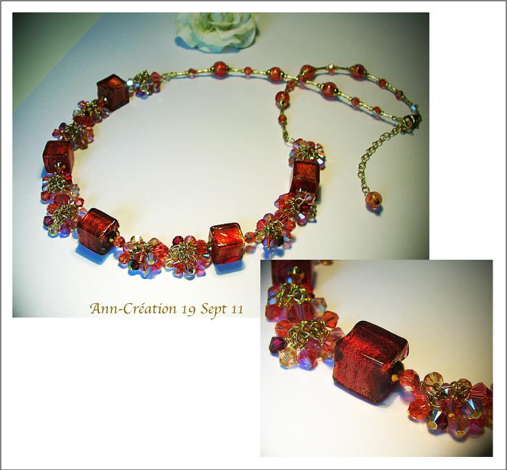 Collier Cubes Murano Authentique Rose Framboise, grappes Cristal de Swarovski