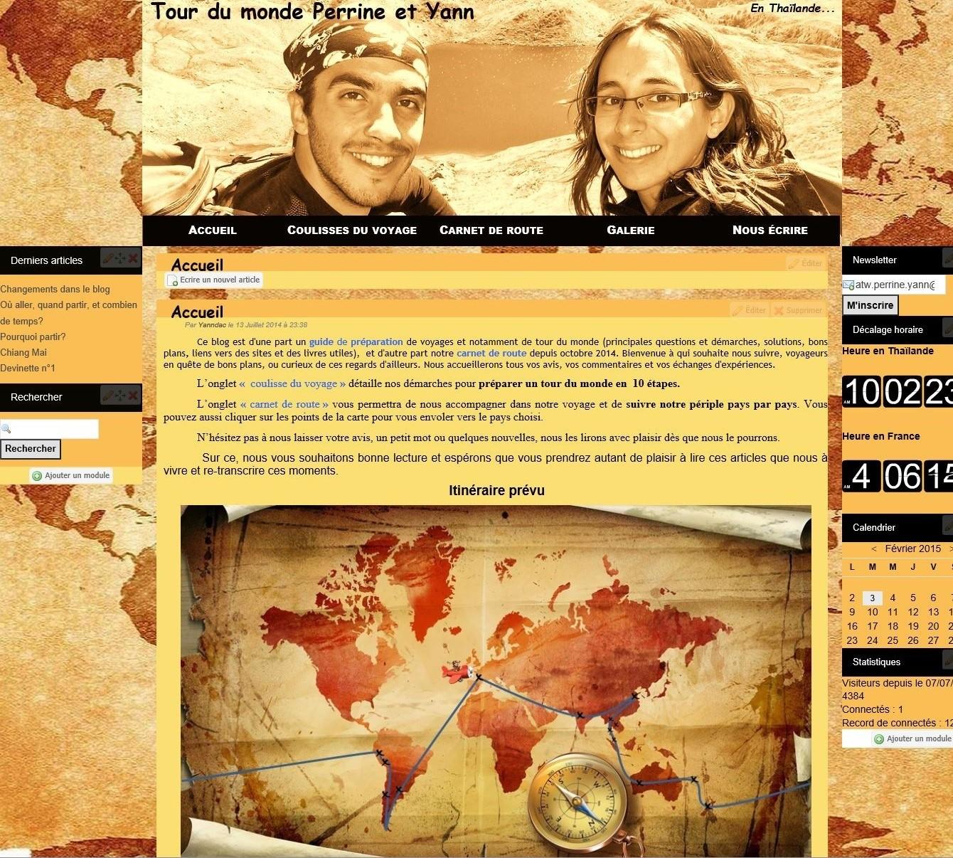 page d'accueil de notre blog de voyage