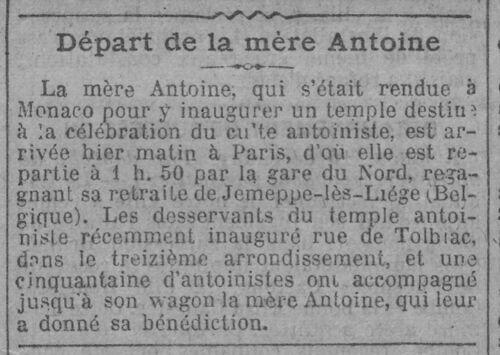 Monaco - Départ de la mère Antoine  (Le Journal, 16 déc 1913)
