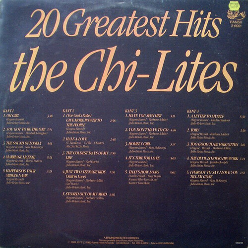 "The Chi-Lites : Album "" 20 Greatest Hits "" Rams Horn Records RAMSH 2-6001 [ NL ]"