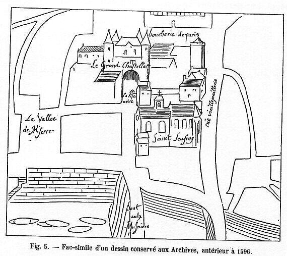 Plan du quartier du Châtelet. 1596
