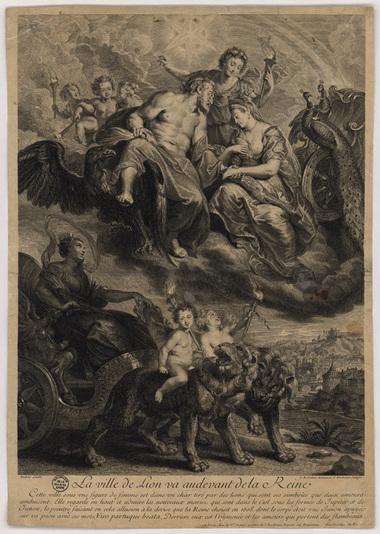 Gravure noir et blanc montrant un char tiré par des lions, surmonté d'un couple royal figuré par Zeus et Héra.