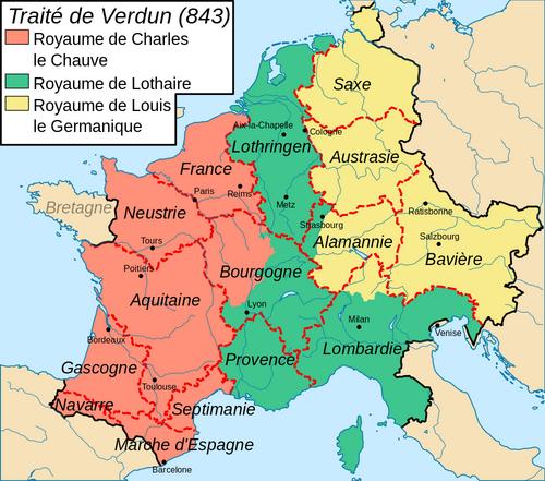 Le traité de Verdun (843) : le partage de l'empire de Charlemagne entre ses fils.