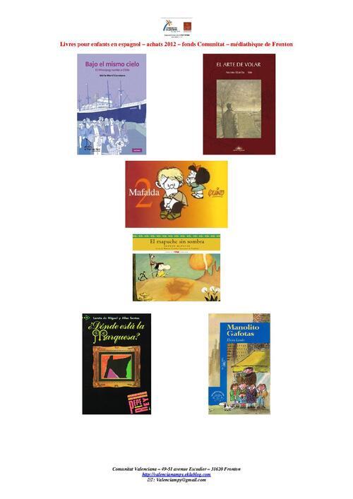 livres enfants disponibles en espagnol à la médiathèque
