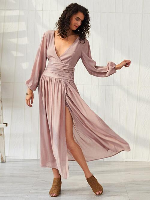 shestar wholesale ruched waist split lantern sleeve v-neck dress