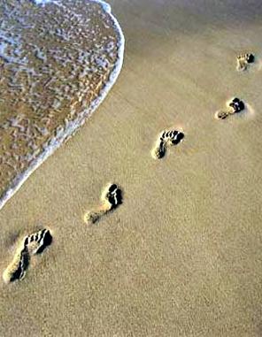 empreintes de pas plage
