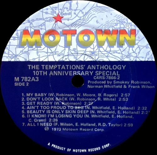 "The Temptations : Album "" Anthology "" Motown Records M782A3 [ US ]"