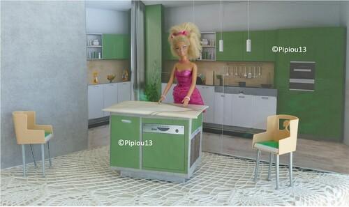 Studio-photos Barbie: la cuisine est finie