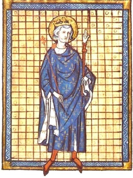 Portrait du roi Saint-Louis tenant la Main de Justice (miniature d'un manuscrit de 1316)