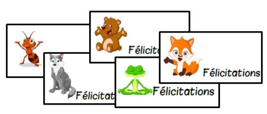 Chouette journée, cartes, félications, animaux, forêt, cycle 2, cp, ce1, Gs, dixmois