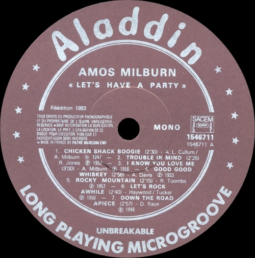 "Amos Milburn : Album "" Let's Have A Party "" Aladdin Records 1546711 [ FR ]"