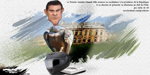 dessin de JERC mercredi 07 décembre 2016 caricature Manuel Valls Il se présente en retard, la primaire de droite est passée. www.facebook.com/jercdessin