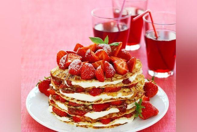 """Résultat de recherche d'images pour """"Millefeuille de crêpes aux fraises"""""""