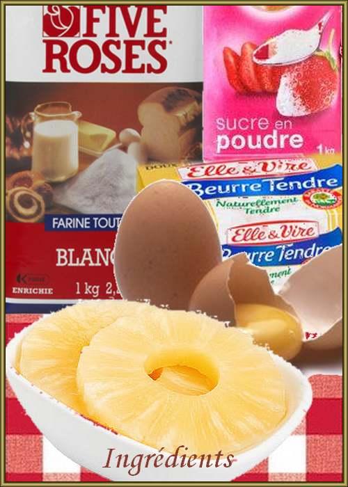 Recette de cuisine : Gâteau renversé à l'ananas