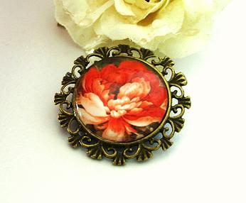 Broche ronde Cabochon de Verre fleur rouge 2, Support  Bronze