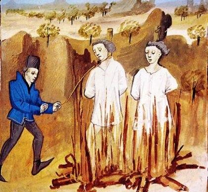 Jacques de Molay et Geoffroy de Charnay sur le bûcher