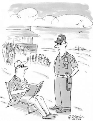 """""""Je suis désolé Monsieur, mais Dostoïevski n'est pas considéré comme une lecture de plage, veuillez-me suivre s'il vous plait"""""""