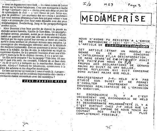 Microscope N°27  critique des NDE vues par FrancisHELD  Revue Evenement du jeudi